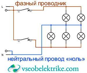 нейтральный провод «ноль» на схеме